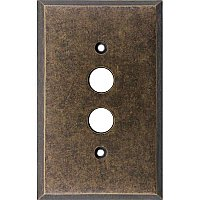 Aged Antique Brass Triple Pushbutton/ Single Duplex Forged Switchplate