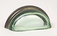 Green Transparent Glass & Oil Rubbed Bronze Bin Pull