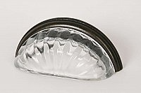 Clear Transparent & Oil Rubbed Bronze Melon Glass Bin Pull