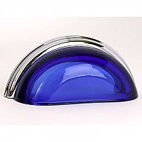 Glass Bin Pull- Transparent Cobalt & Polished Chrome