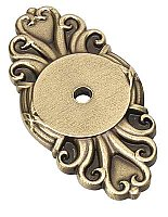 Ribbon and Reed Cabinet Knob Backplate - French Antique Brass