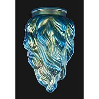 Blue Iridescent Flame Art Glass Shade
