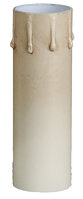 "Antique Ivory Tinted Paper Board Candle Cover with Drips - Standard A19 - 4"" High"