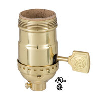 Brass Shell Lamp Socket with Flat Key & 3-Way Interior - UNO Thread - Polished & Lacquered Brass