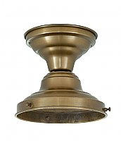 "Schoolhouse Flush Fixture, 4"" Fitter, Antique Brass"