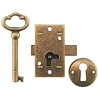 Flush Mount Drawer/Door Lock - Antique Brass