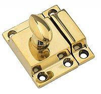 Small Cabinet Latch - Oval Knob - Polished Brass
