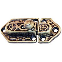 Fancy Brass Cabinet Latch - Antique Brass