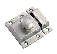 Large Cabinet Latch - Oval Knob - Brushed Nickel