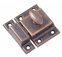 Large Economy Cabinet Latch - Oval Knob - Antique Copper