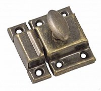 Small Economy Cabinet Latch - Oval Knob - Antique Brass