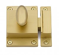 Traditional Spring Loaded Oval Knob Cabinet Latch - Satin Brass
