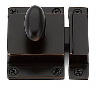 Traditional Spring Loaded Oval Knob Cabinet Latch - Oil Rubbed Bronze