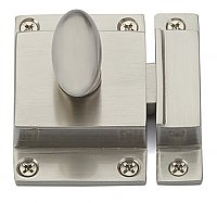 Traditional Spring Loaded Oval Knob Cabinet Latch - Satin Nickel