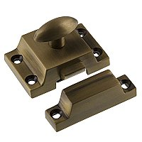 Solid Brass Surface Mount Cabinet Latch, Antique Brass