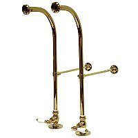 "22-13/16"" High Rigid Freestanding Water Supply Lines For Bathtubs with Stop Valves and Porcelain Cross Handles - Polished Brass"