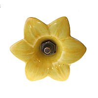 Porcelain Curtain Tieback- Yellow Lily
