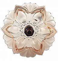 Lacy Pressed Sandwich Glass Curtain Knob or Tieback with Bronze Post - Apricot-Pink