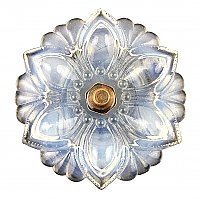 Lacy Pressed Sandwich Glass Curtain Knob or Tieback with Bronze Post - Opalescent White