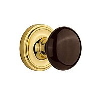 Complete Door Hardware Set - with Classic Rosette with Brown Porcelain Knob
