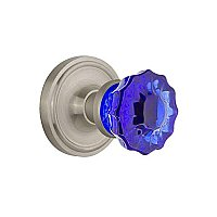 Complete Door Hardware Set - with Classic Rosette with Colored Fluted Crystal Knob