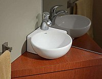 Corner Vitreous China Overcounter/Wall Mount Lavatory / Sink
