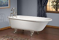 "Cheviot Cast Iron 54"" Traditional Roll Rim Clawfoot Bathtub with Rim Mount Faucet Holes"