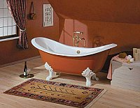 "Cheviot Cast Iron 61"" Regency Clawfoot Bathtub with Lion Feet"