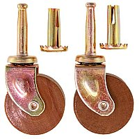 Pair of Ball-Bearing Wooden Wheel Furniture Casters - Dark Wood - Medium