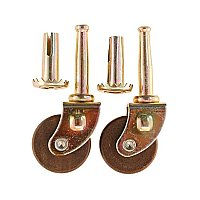 Pair of Wooden Wheel Furniture Casters - Dark Wood - Small