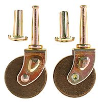 Pair of Wooden Wheel Furniture Casters - Dark Wood - Medium