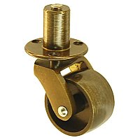 Brass Caster with Plate and Pivot - Antique Brass - Medium