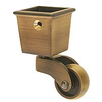 Square Cup Caster - Antique Brass