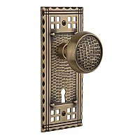 Complete Door Hardware Set - with Craftsman Plate with Craftsman Knob