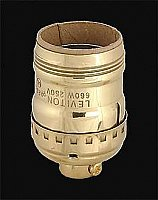 Keyless Short Standard Socket with UNO Thread - Polished Brass - Leviton Brand