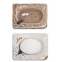 Stoneware Soap Dish with Feather Decal