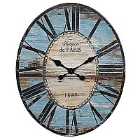 Turquoise Wood & MDF Oval Wall Clock