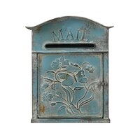 Embossed Floral Arched Top Post / Mail Box - Distressed Blue