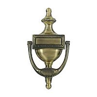 "Solid Brass Door Knocker, Victorian Rope, 4-7/8"" on Center"