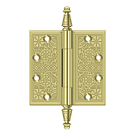 "Ornate Steeple Tip Solid Brass Door Hinge Pair - 4-1/2"" x 4-1/2"""
