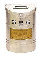 Wall Mailbox, Brushed Stainless Steel Finish, Leather Label