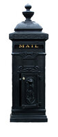 Victorian Tower Column Front & Rear Access Locking Mailbox - Satin Black Finish