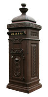 Victorian Tower Column Front & Rear Access Locking Mailbox - Rust Brown Finish