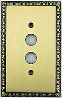 Egg And Dart Antique Brass Forged Single Pushbutton Switchplate / Cover Plate
