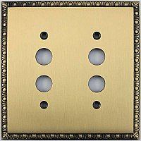 Egg And Dart Antique Brass Forged Double Pushbutton Switchplate / Cover Plate