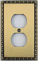 Egg And Dart Antique Brass Forged Single Duplex Switchplate / Cover Plate