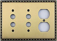 Egg And Dart Antique Brass Forged Double Pushbutton / Single Duplex Switchplate / Cover Plate