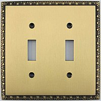Egg And Dart Antique Brass Forged Double Toggle Switchplate / Cover Plate