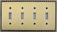 Egg And Dart Antique Brass Forged Quad Toggle Switchplate / Cover Plate