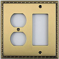 Egg And Dart Antique Brass Forged Duplex / GFCI Switchplate / Cover Plate